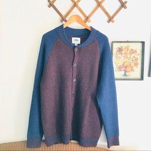 Wool Blend Varsity Cardigan Knit Sweater